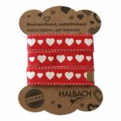 Ruban coton imprimé adhésif, rouge avec coeurs