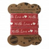 Ruban coton imprimé adhésif, rouge With Love