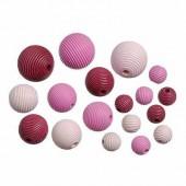 Wooden beads, pink mix, 10-20mm, 20 pcs