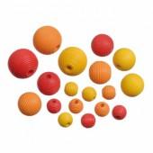 Perles en bois, mix jaune, 10-20mm, 20 pcs