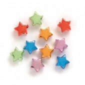 Etoiles brillantes multicolores 10mm, trou 4mm