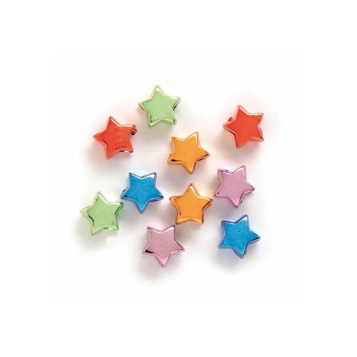 Brilliant stars multicolour 10mm, with hole 4mm
