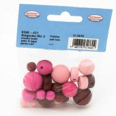 Wooden beads, pink mix