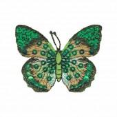 Motif à fixer au fer à repasser, papillon, 6x5cm, vert