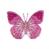 Motif à fixer au fer à repasser, papillon, 6x5cm, rose