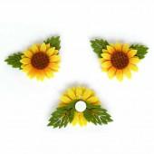 Felt sunflower 5.5cm, yellow, 2 pcs