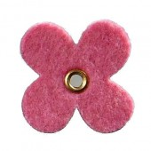 Felt flowers with eyelet, 35mm, pink, 12pcs