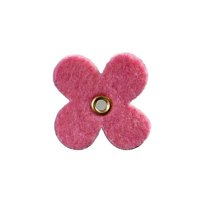 Felt flowers with eyelet, 35mm, pink, 12pcs