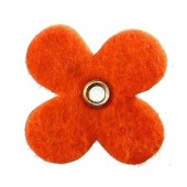Felt flowers with eyelet, 35mm, orange, 12pcs