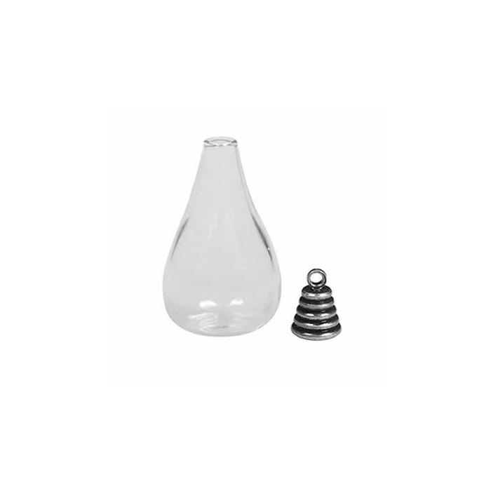 Glass bottle pendant , 1.8x3.5cm, old silver