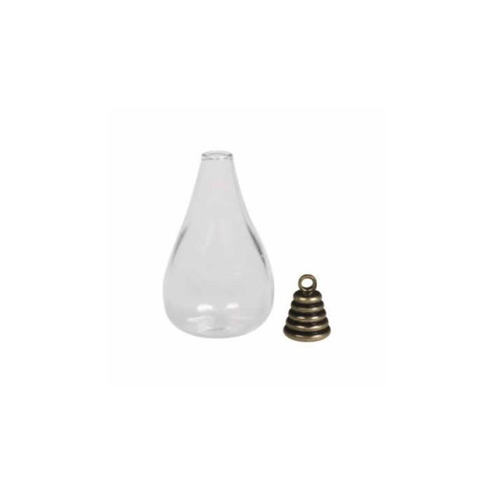 Glass bottle pendant , 1.8x3.5cm, old gold