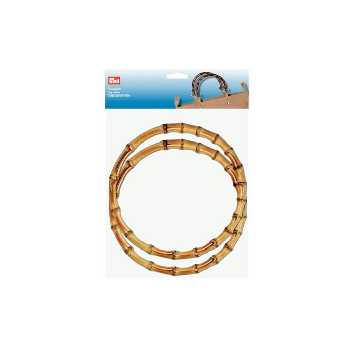 Keiko Round bag handles of bamboo Ø22cm