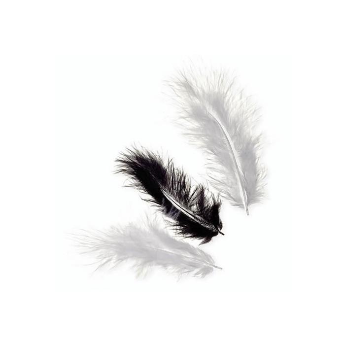 Marabu feathers, black mix, 15 pcs, 10cm