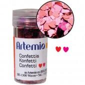 Paillettes confettis coeurs 6g, rouge-rose