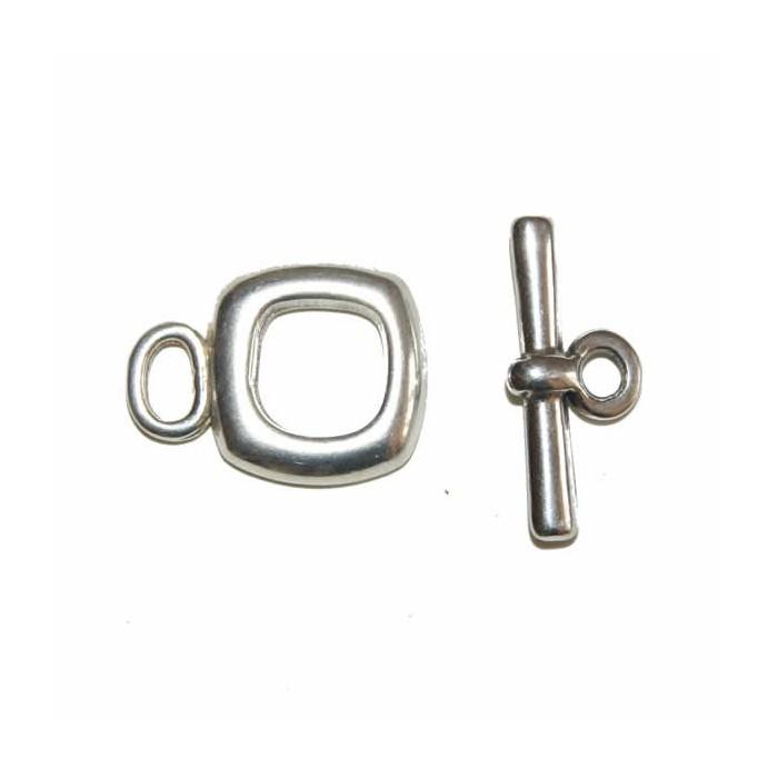 Clasp square, color : silver, 15mm, 1 pce