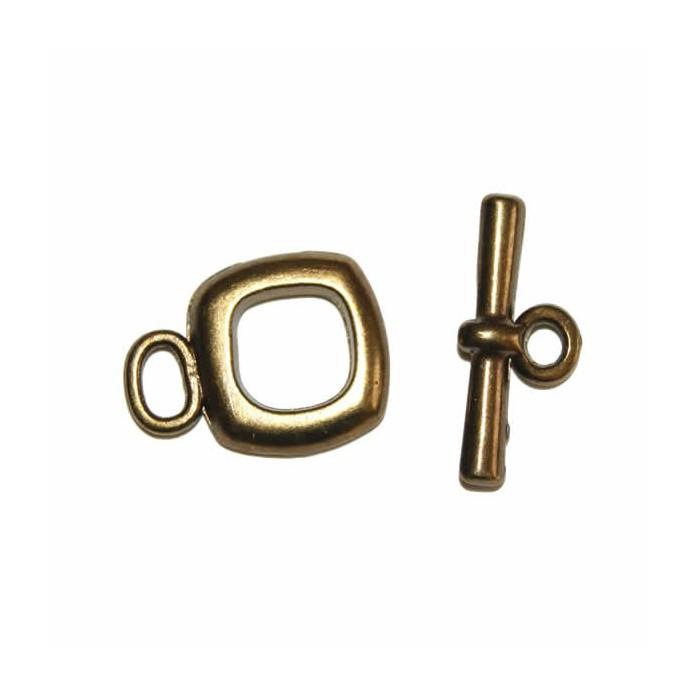 Clasp square, color : bronze, 15mm, 1 pce