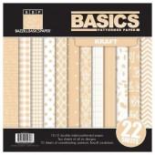 Bazzill - Set de papiers imprimés Kraft Basic