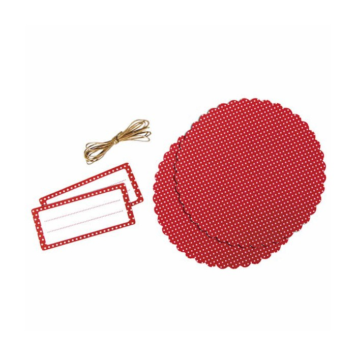 Deco set for jam jar, red with dots