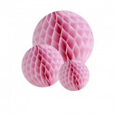 Honeycomb paperballs kit, pink, 5 pcs