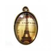 Plate pendant Eiffel Tower brown, oval 32x20mm