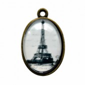 Plate pendant Eiffel Tower white, oval 32x20mm