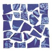 Retro Mosaic, bleu/argent