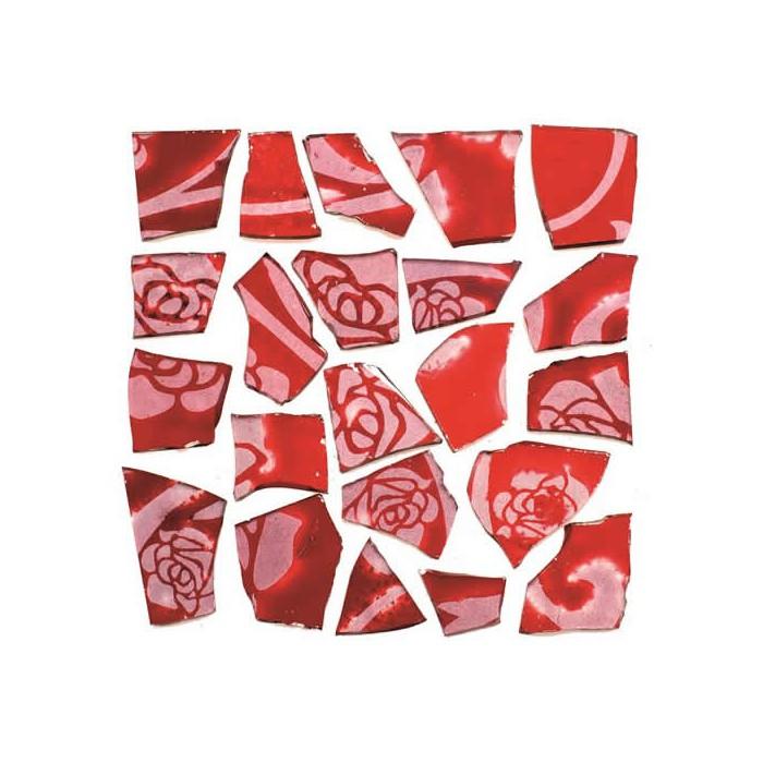 Retro Mosaic, red/silver
