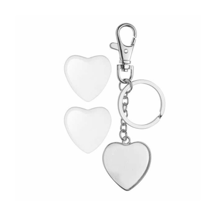 Keyring pendant two-sided heart 32x32mm