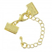 Clasp with connector for ribbon, gold, 10mm, 1 pce