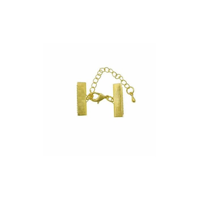Clasp with connector for ribbon, gold, 16mm, 1 pce