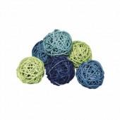 Boules déco rotin 5cm, tons bleus