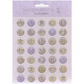 Stickers résine epoxy alphabet vert-lilas
