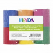Papier crépon 5cm x 10m, coloris assortis