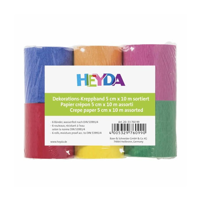 Crepe paper, 5cm x 10m, assorted colors