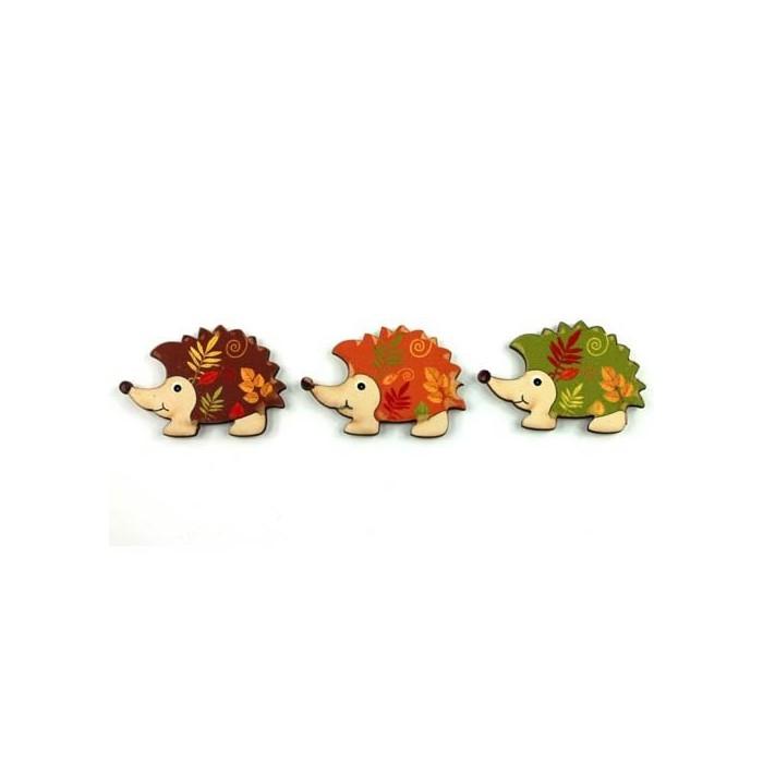 Wooden Hedgehogs, 3x5cm, 3 pcs