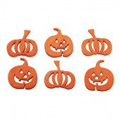 Citrouilles Halloween en bois orange, 2cm, 24 pcs
