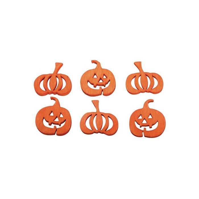 Wooden pumpkins Halloween orange, 2cm, 24 pcs