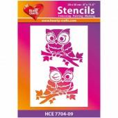 Stencil A4 Owls