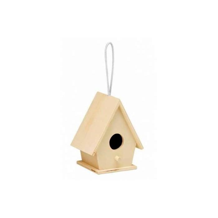 Wooden bird house 10x7.5x12.5cm