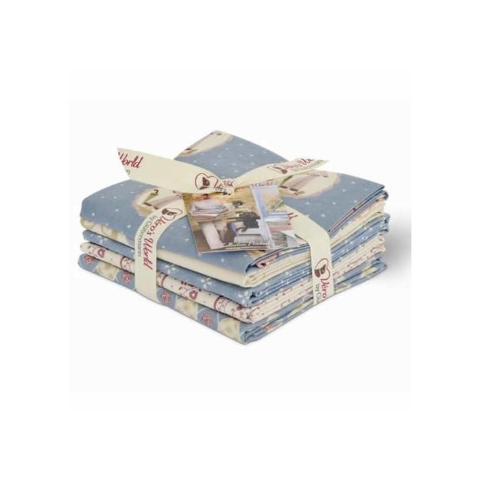 Gütermann Fat Quarters - Pemberley blue/white/rose