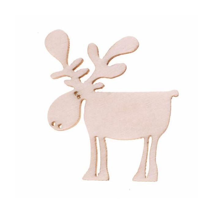 Wooden Elk, natural, 4cm, 8 pcs