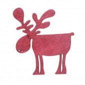 Wooden Elk, red, 4cm, 8 pcs