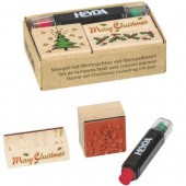 Set de tampons Noël avec encre rouge-vert