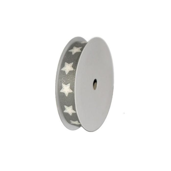 Ribbon Star, white/grey, 15mm/2.5m