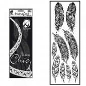Iron-on fabric, velvet effect, feathers black