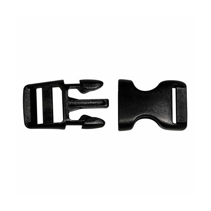 Black plastic buckle / closure, 15 mm, 2 pieces