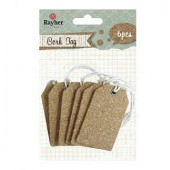 Cork Tags, 37x60mm, 6 pcs