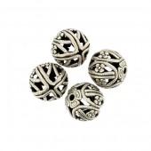Perles en métal rondes 13mm, 4 pièces