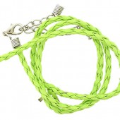 Artificial leather choker with clasp, green 45cm
