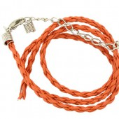 Artificial leather choker with clasp, orange 45cm